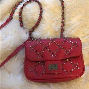 Handbags - Mini Red Studded Crossbody Bag NWOT